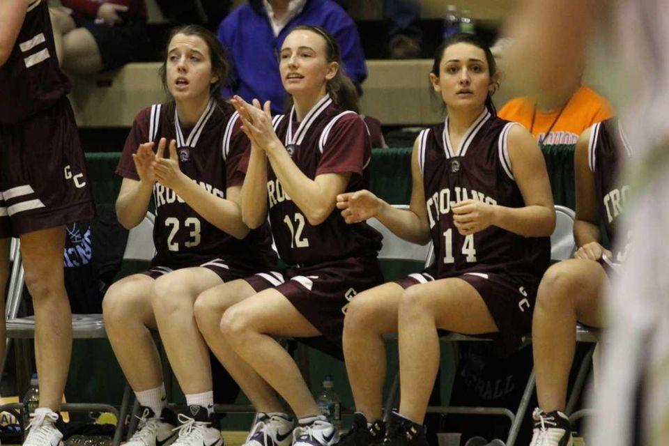 Garden City teammates Megan Bader, Marguerite Rix and