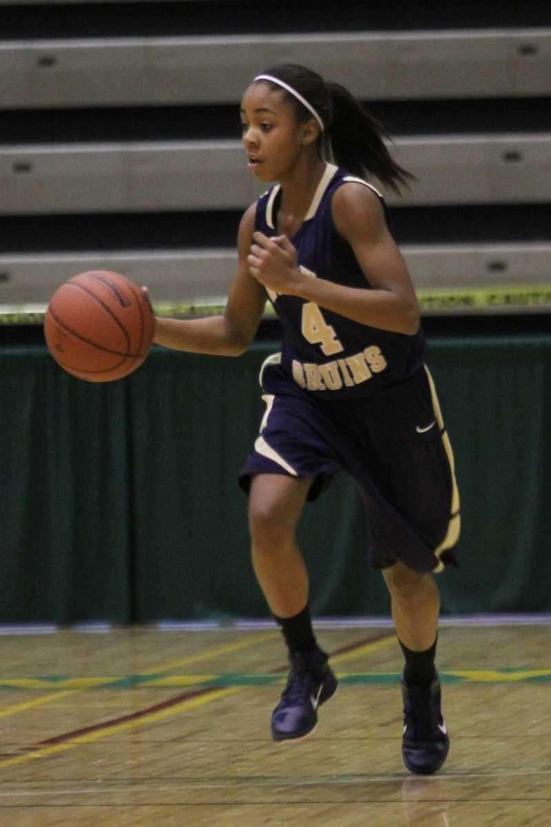Baldwin's Amber Harrison brings the ball up court