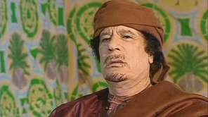 Libyan leader Moammar Gadhafi during an interview with
