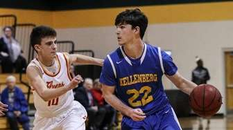 Sean Boll of Kellenberg drives to the basket