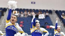 East Meadow cheerleaders perform during the Nassau cheerleading