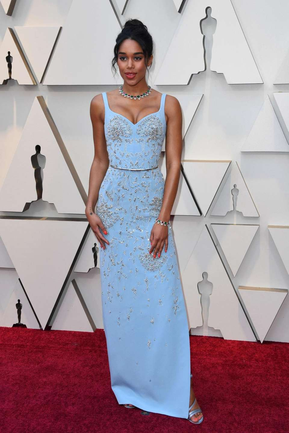 US actress Laura Harrier arrives for the 91st