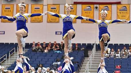 East Meadow performs during the Nassau cheerleading championships