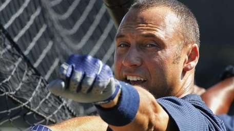 The Yankees' Derek Jeter waits to hit during