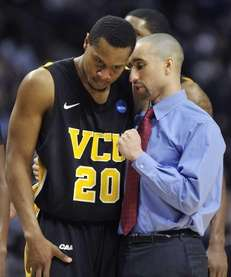 Virginia Commonwealth coach Shaka Smart talks with Bradford