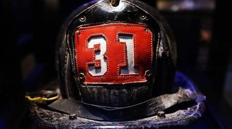Surviving firefighter Dan Potter's fire helmet, which he