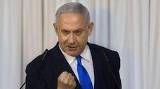Israeli Prime Minister Benjamin Netanyahu gestures as he