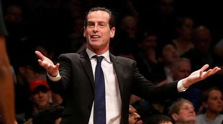 Head coach Kenny Atkinson of the Nets reacts