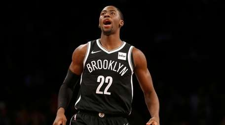 Caris LeVert #22 of the Brooklyn Nets reacts