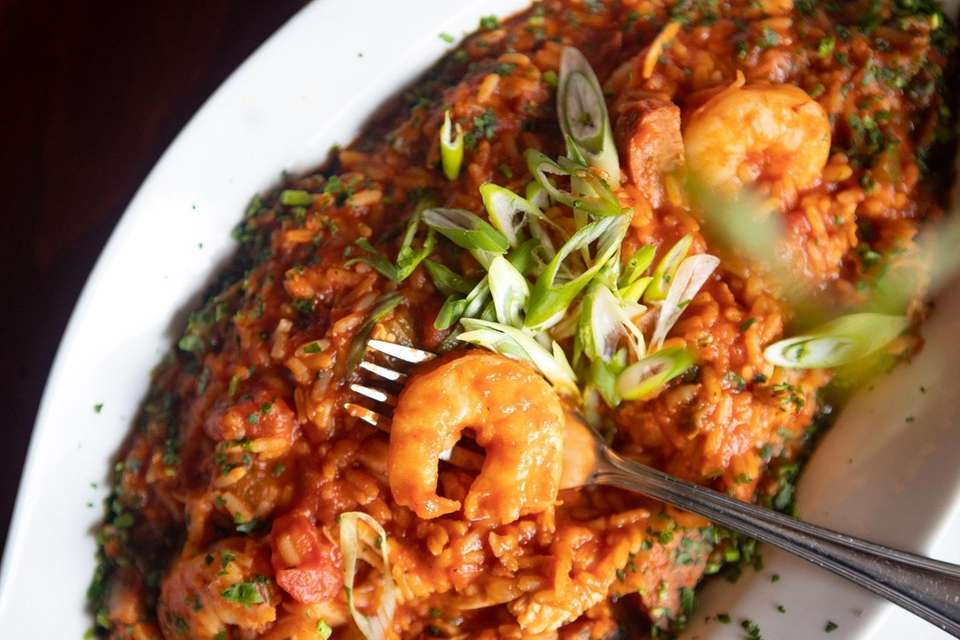 The jambalaya featuring andouille sausage, shrimp, chicken and