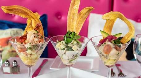 Three types of ceviche, including shrimp, scallop, and