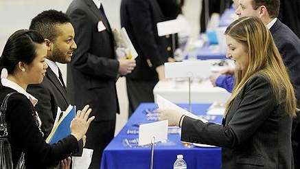 Students attend a jobs fair at Hofstra University.