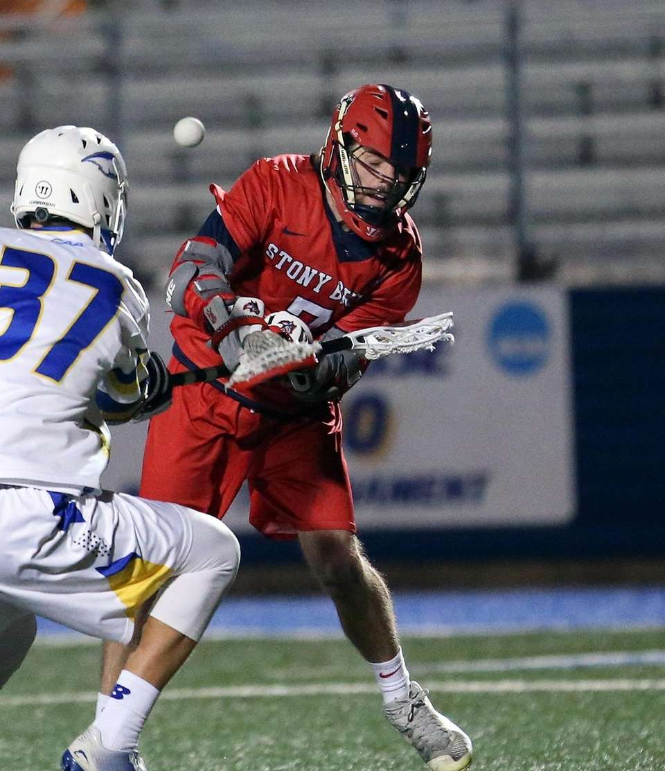 Shot on goal by Stony Brook's Jack Walsh