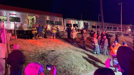 Fire department onscene of a train hitting a