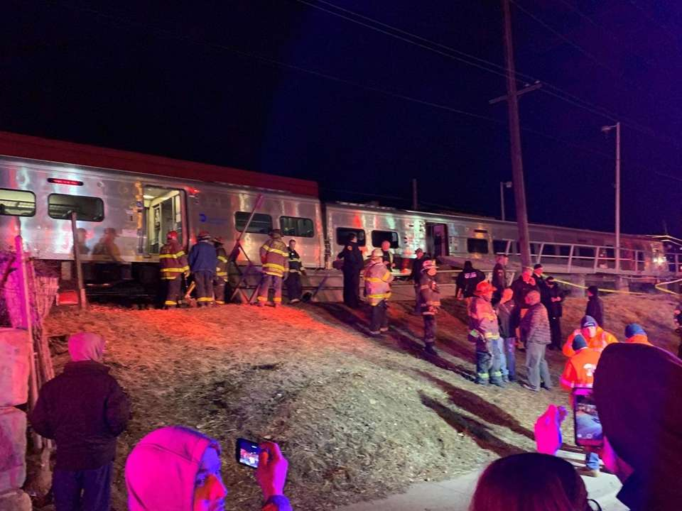 ire department onscene of a train hitting a