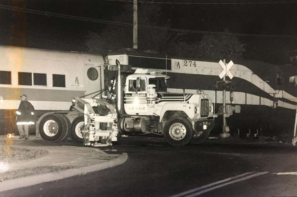 The front of a tractor trailer involved in