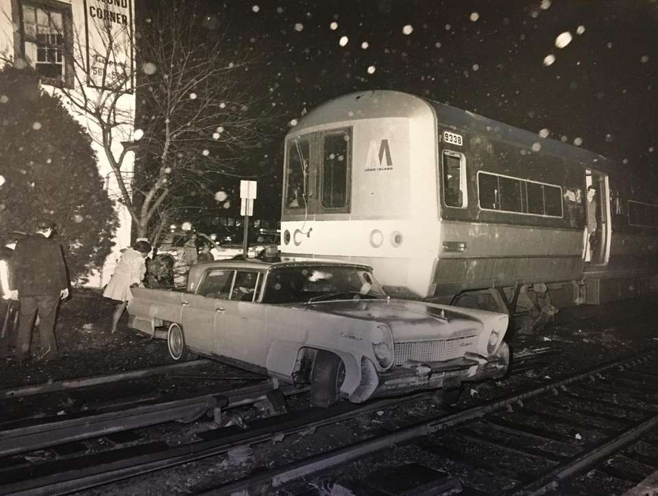 LIRR train hit a stalled car at West