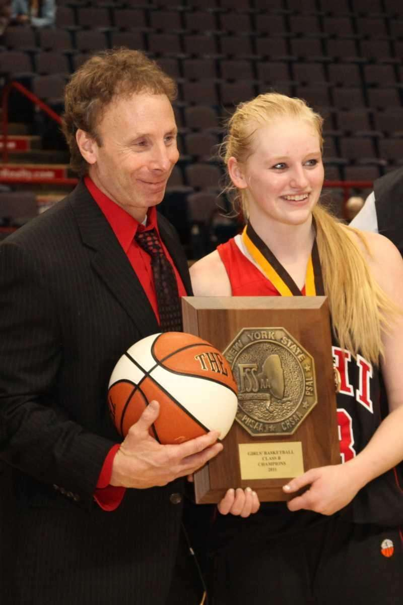 Long Island Lutheran's Samantha Milhaven and Coach Rich