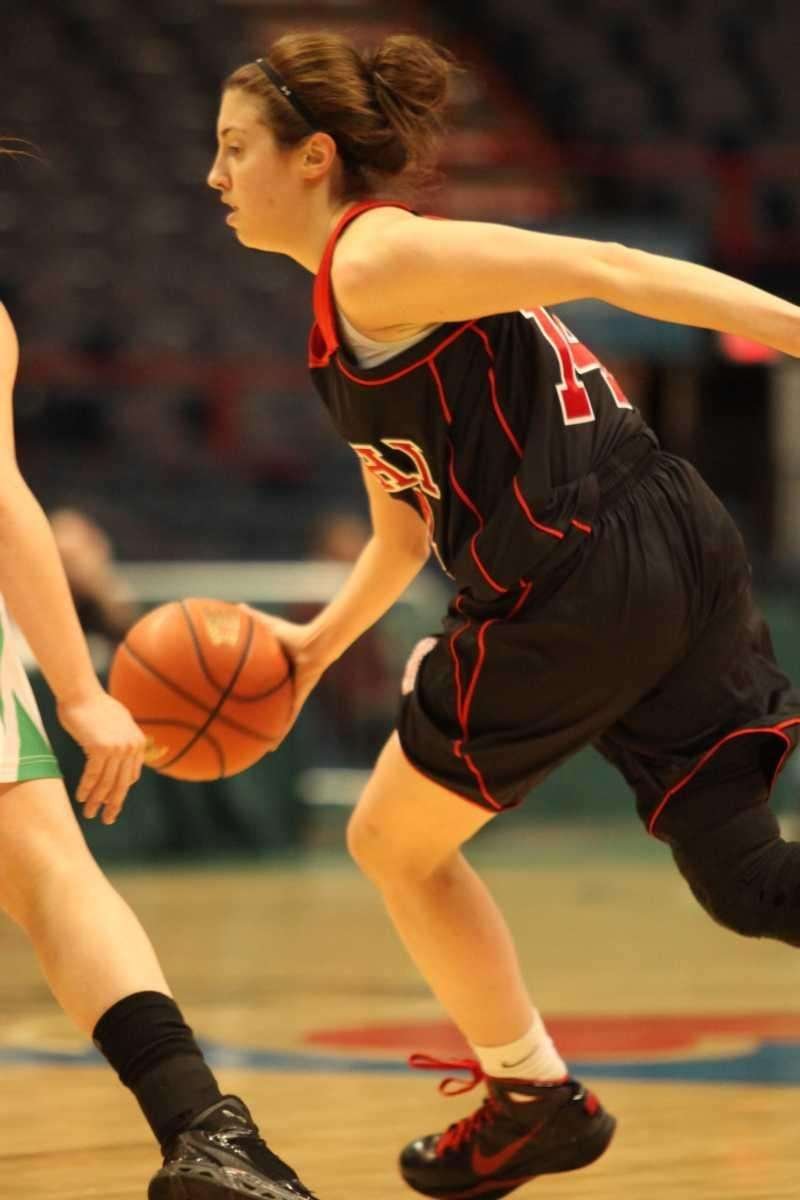 Long Island Lutheran's Paige Kriftcher dribbles down the