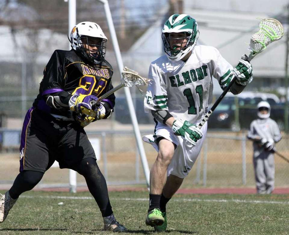Elmont's Kevin Figueroa maintains control of ball against