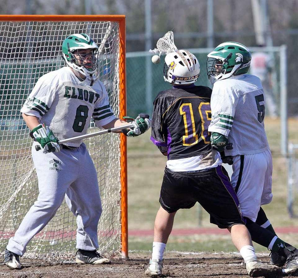Elmont's goalie, Peter Penalvert together with a fine