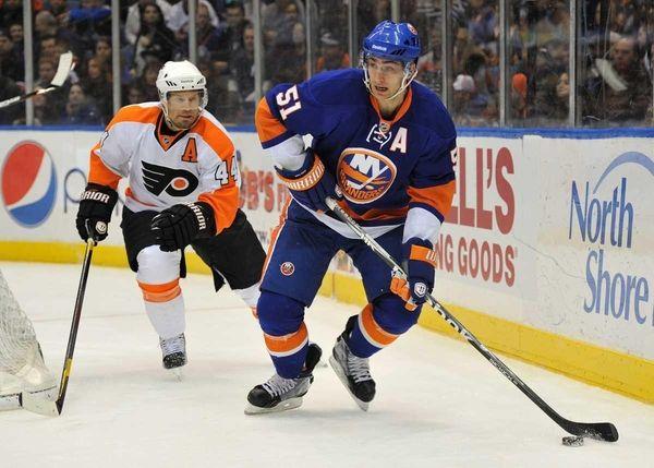 Philadelphia Flyers defenseman Kimmo Timonen (44) challenges New