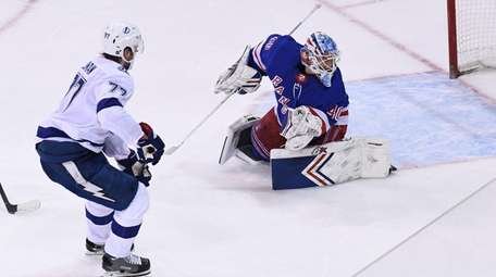 Lightning defenseman Victor Hedman scores past Rangers goaltender