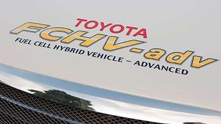 The hood of Toyota fuel cell hybrid car