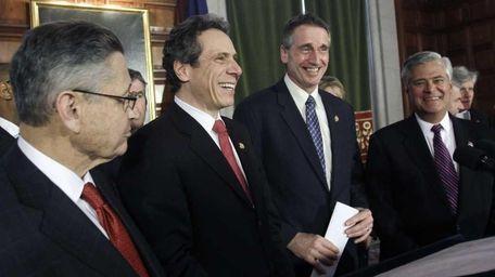 From left, Assembly Speaker Sheldon Silver, Gov. Andrew