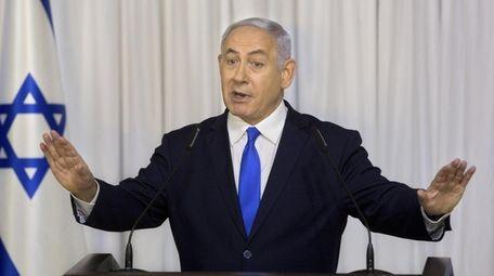 Israeli Prime Minister Benjamin Netanyahu delivers a statement