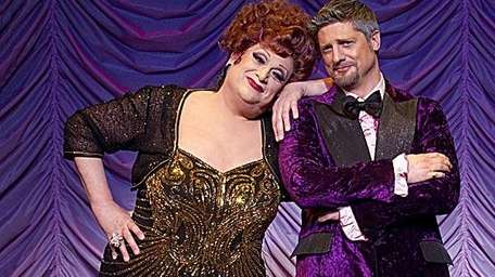 Harvey Fierstein in drag, left, and Christopher Sieber