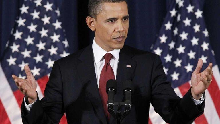 President Barack Obama delivers his address on Libya
