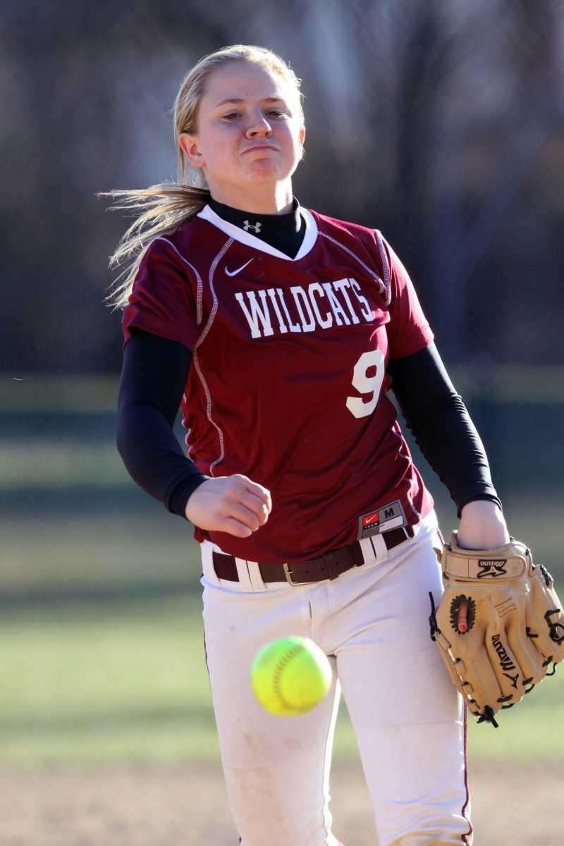 Whitman's Jen Schaber pitches during a game against