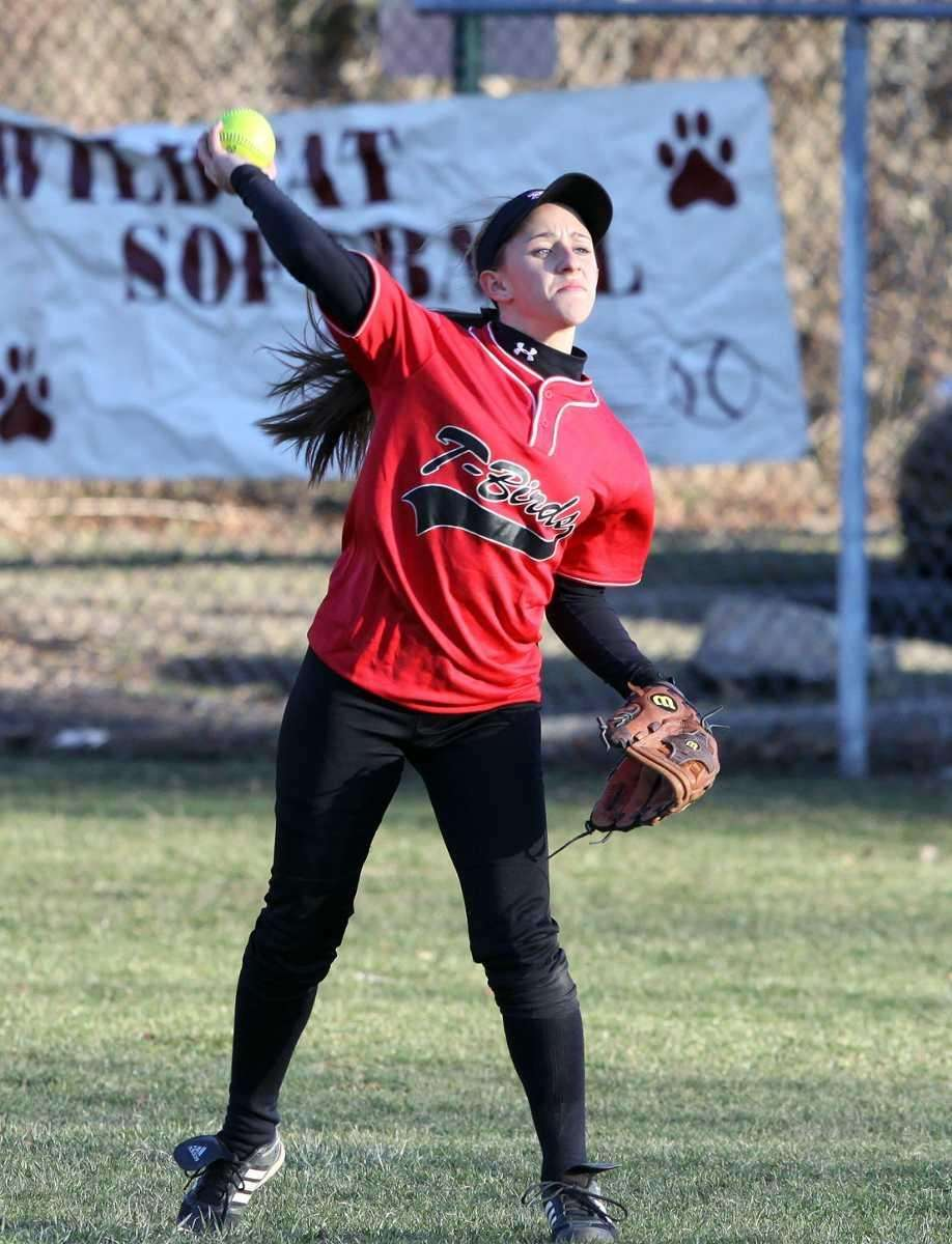Connetquot's Amanda Schoenfeld in left field during a