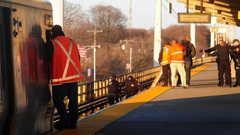The scene at the Bellmore LIRR station after