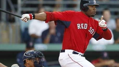 Boston Red Sox's Carl Crawford grounds out to