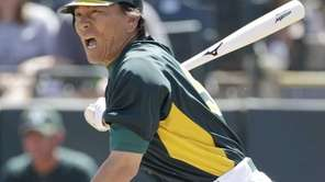 Oakland Athletics designated Hideki Matsui reacts to grounding