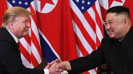 President Donald Trump speaks with North Korea's leader