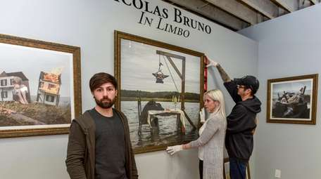 Nicolas Bruno, foreground, at Haven Gallery in Northport