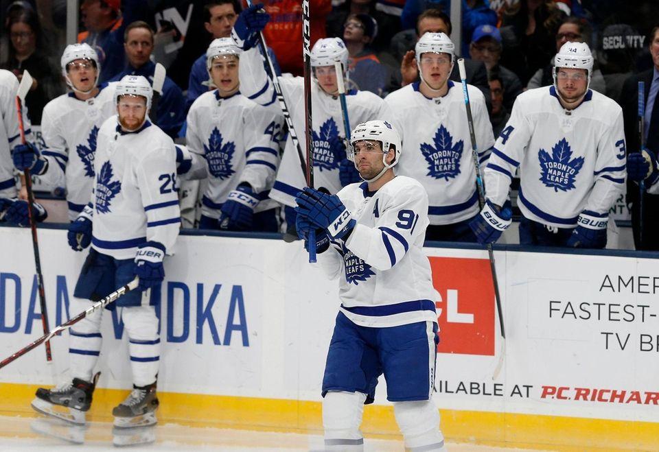John Tavares #91 of the Toronto Maple Leafs