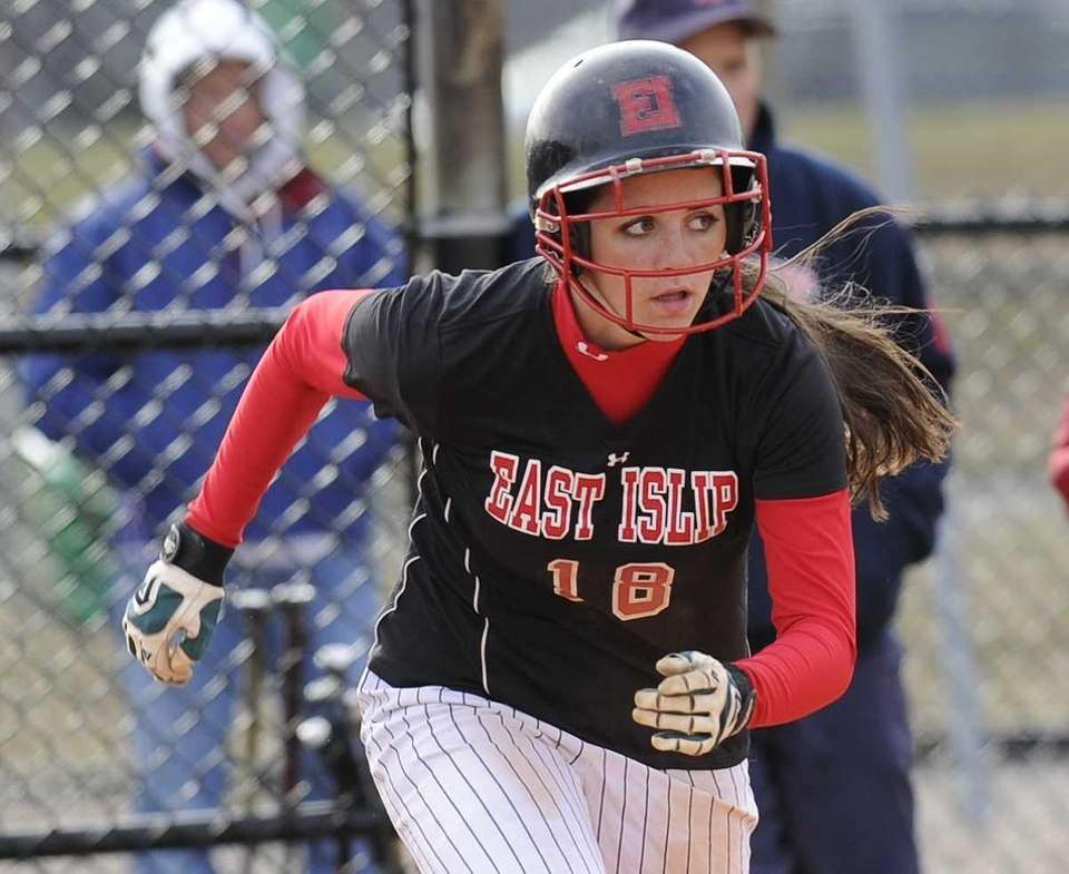 East Islip's Lindsey Zenk runs to first base