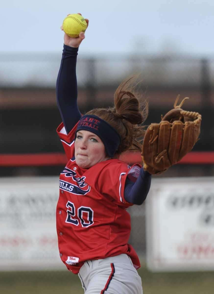 Smithtown East pitcher Corinne Vazac pitches against East