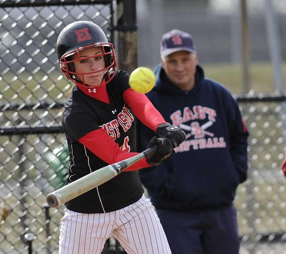 East Islip's Alyssa Groneman gets a base hit