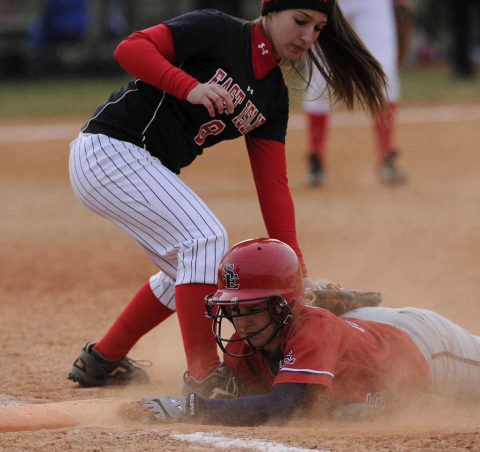 Smithtown East's Madison Provencher is safe at first