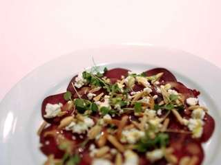 A roasted beet salad is served at Cedar