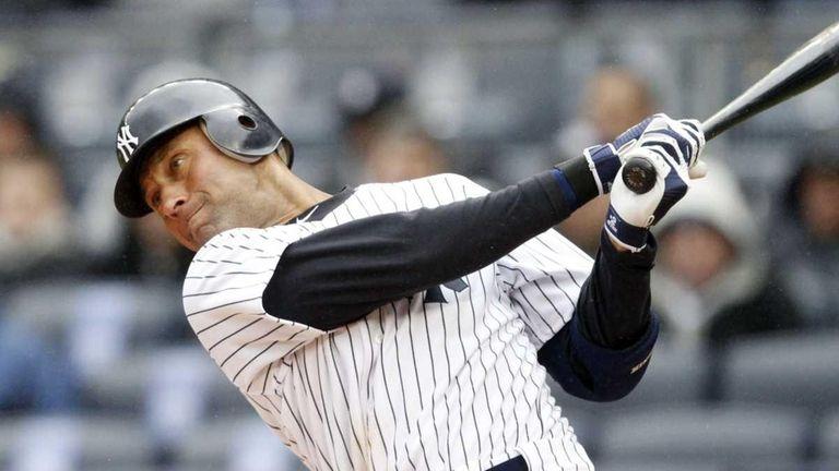 The Yankees' Derek Jeter at bat during Opening
