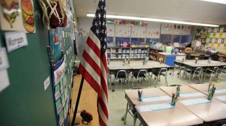 A first-grade classroom in Smithtown at the end