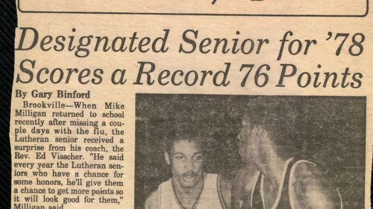 Newsday's print story of Mike Milligan's 76-point day.