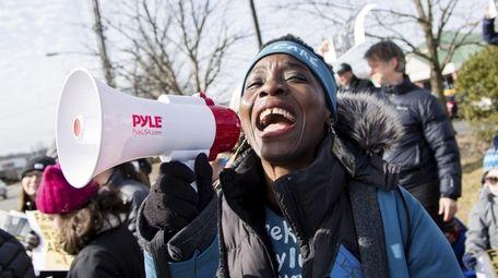 Patricia Okoumou of Staten Island, who climbed to
