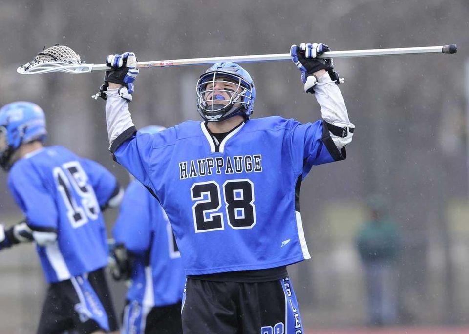 Hauppauge's Joe Jacovino reacts to another Comsewogue goal